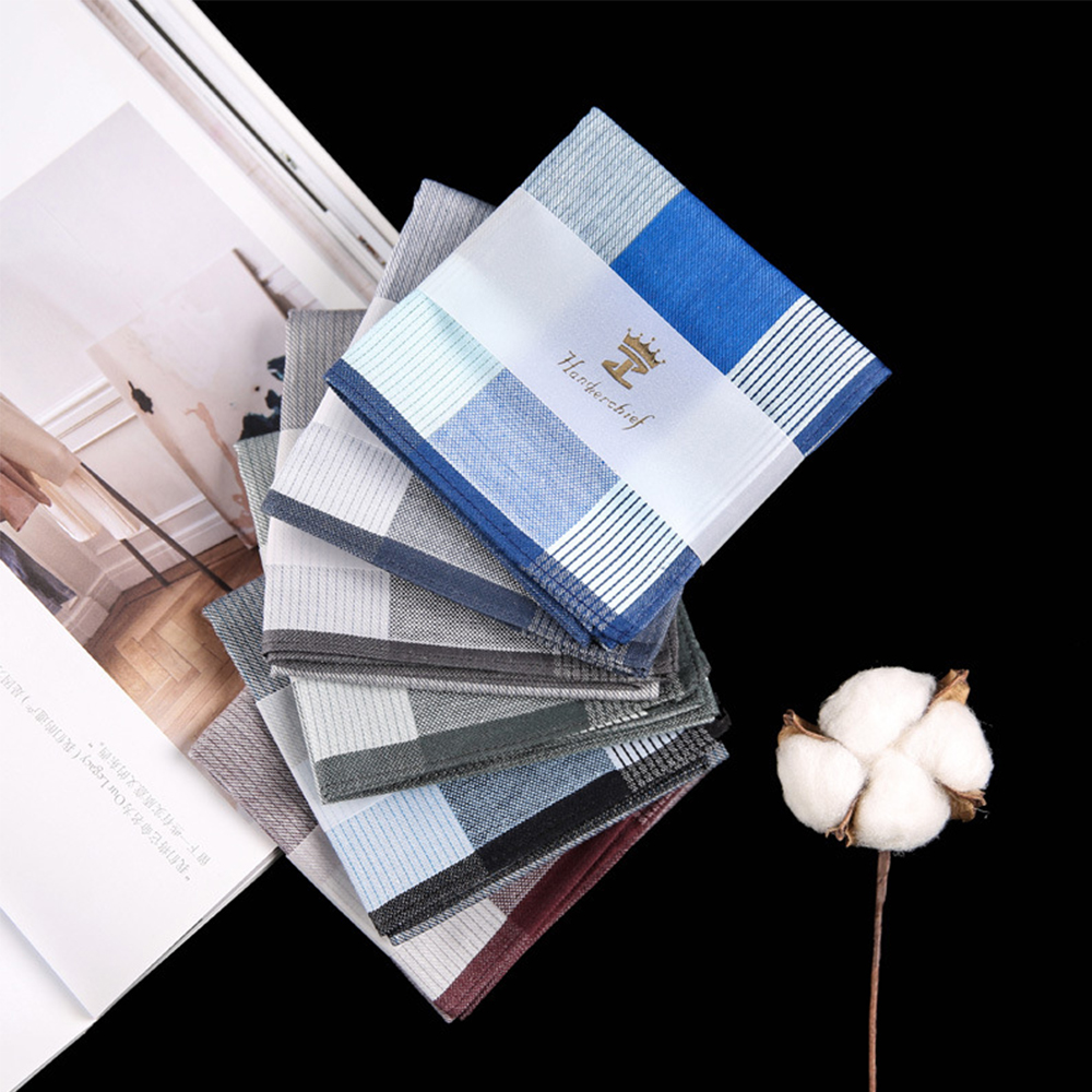43*43cm Men's Vintage Square Plaid Handkerchiefs 100% Cotton Pocket Fashion Gentlemen Style Hanky For Wedding Party