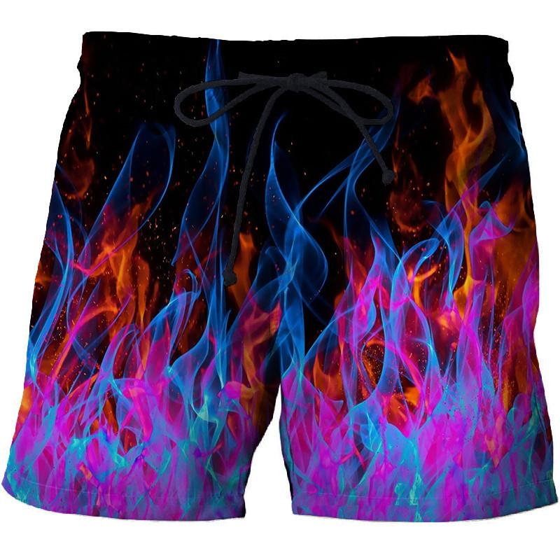 Red And Blue Flame Men's Beach Shorts Sports Quick-drying Swimming Trunks Street Funny Fun 3D Printing Shorts Factory Direct
