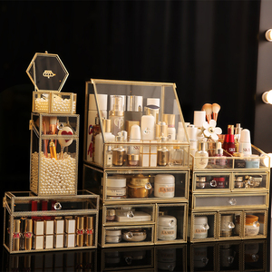 Прозрачный стеклянный ящик для макияжа, большой Настольный органайзер для ухода за кожей, полка для украшений, ожерелье, кольцо, коробка для...