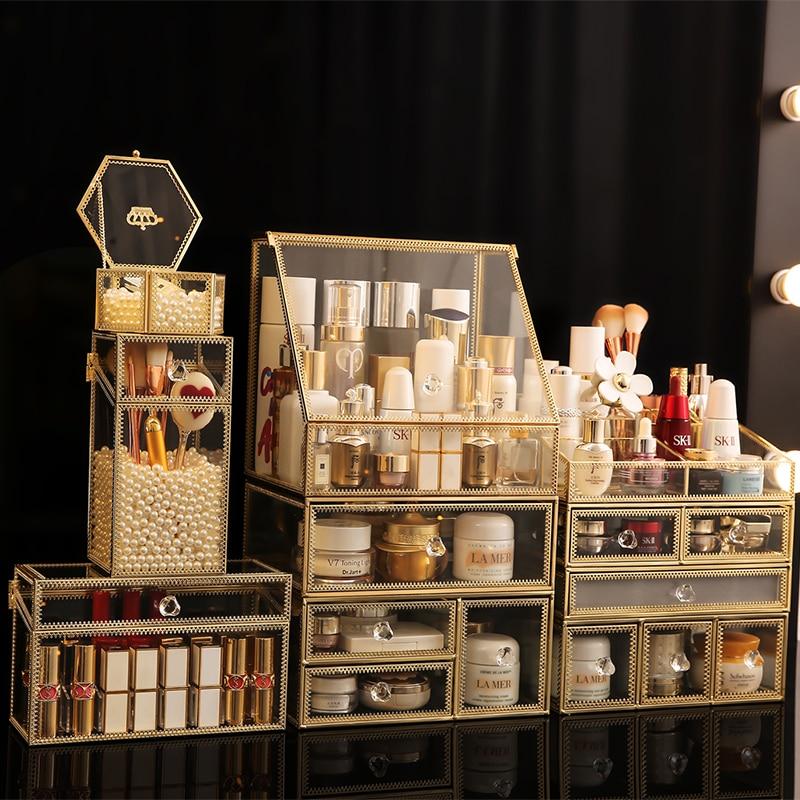Transparent Glass Drawer Makeup Organizer Large Desktop finishing Skin Care Shelf Tissue Jewellery Necklace Ring Storage Box