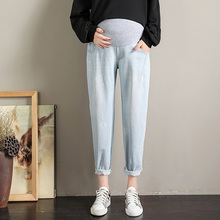 Washed Stretch Denim Maternity Jeans Elastic Waist Belly Loose Pants Clothes for Pregnant Women Pregnancy Trousers цены онлайн