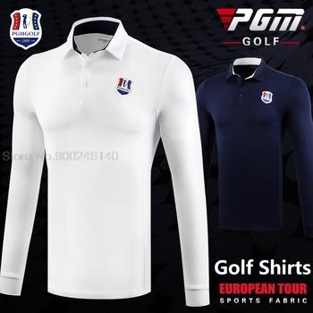 Pgm jesień Dry Fit mężczyźni koszule golfowe z długim rękawem oddychające koszulki Lapel odzież sportowa odzież golfowa mężczyźni Casual tenis stołowy koszule tanie i dobre opinie POLIESTER spandex Pełne CN (pochodzenie) Odporna na mechacenie oddychająca wiatroszczelna CC0129 Dobrze pasuje do rozmiaru wybierz swój normalny rozmiar