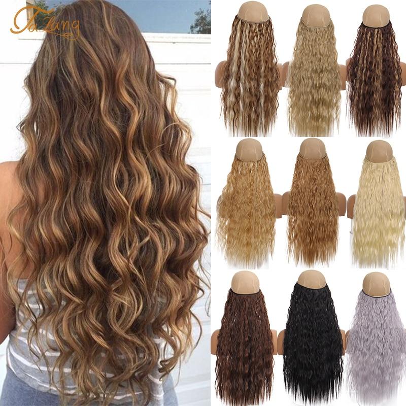 TaLang невидимая проволока без клипы в наращивание волос Secret рыба линия самостоятельного использования вьющиеся накладные волосы синтетичес...