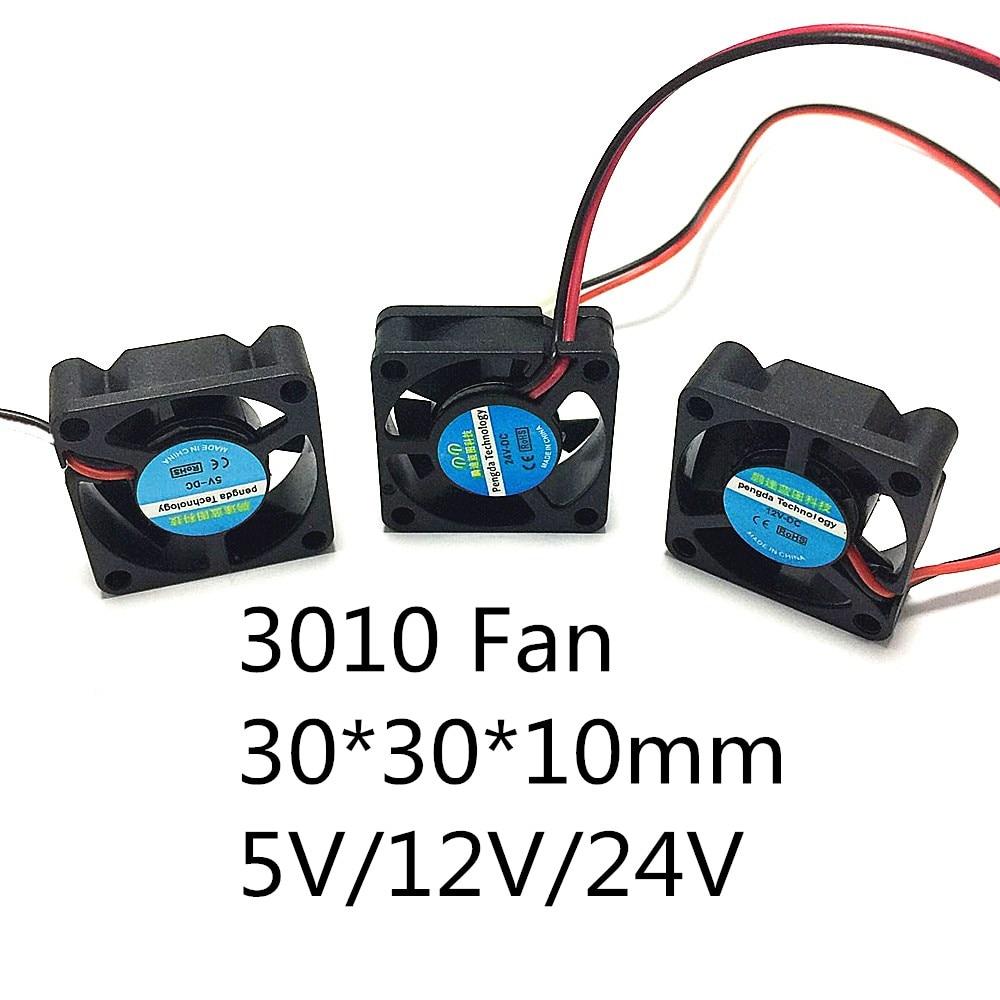 3D Printer Store 3010 Fan 30*30*10mm 5v 12V 24v 2Pin DC Cooler Small Cooling Fan For 3D Printer