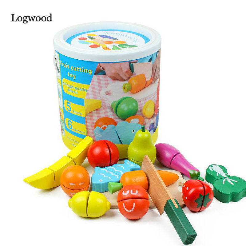 Cutting Food Wooden Play Food Set Toy Pretend Food With Knife Fruit Vegetable Fish And Cutting Board 13 PCS