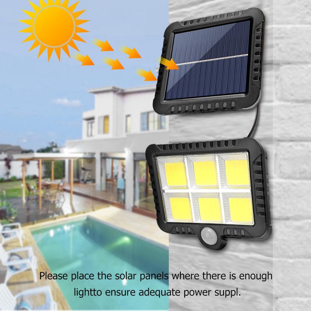COB lampe solaire 120LED, capteur de mouvement, étanche chemin en extérieur, éclairage de nuit, Support d'éclairage de nuit en plein air, livraison directe