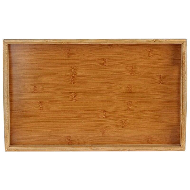 Поднос для сервировки бамбуковый-деревянный поднос с ручками-отлично подходит для обеденных подносов, чайных поддонов, поддонов для бара, поддонов для завтрака или любого поддона для еды-3