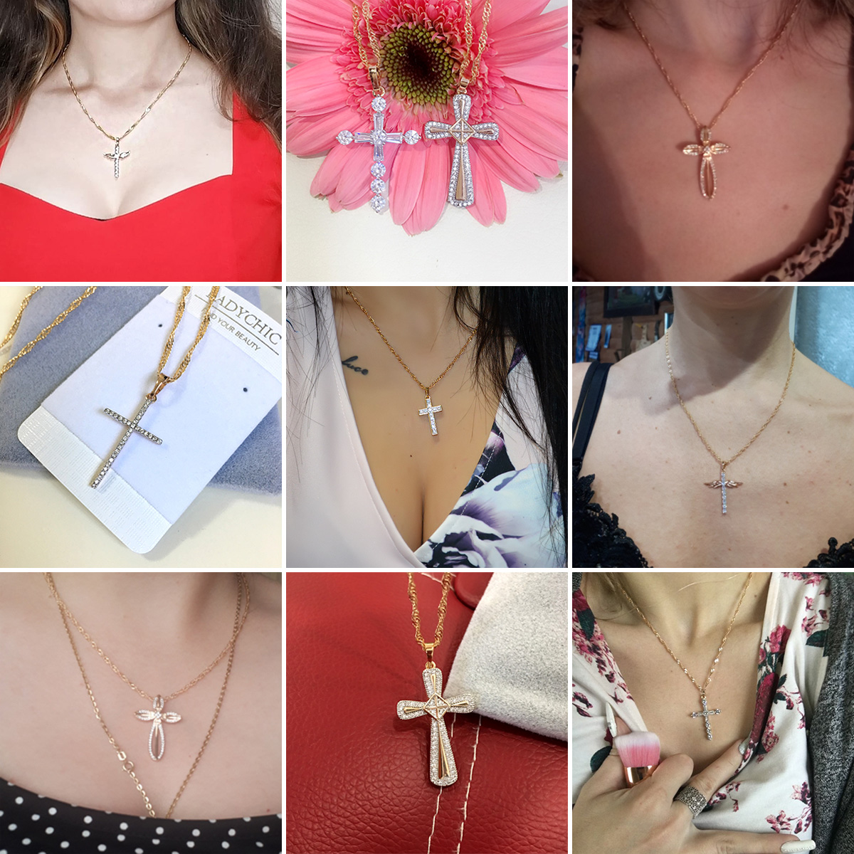 Elegance Gold Color Cross Pendant Necklaces for Women Men Trendy Classic Christian Jesus Crystal Necklace Jewelry Gift Wholesale 4