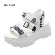 Sandals Women 2021 Summer Platform Shoes Fashion Buckle Beach Shoes White Black Large Size Sandals 35-40 High Heels Slides