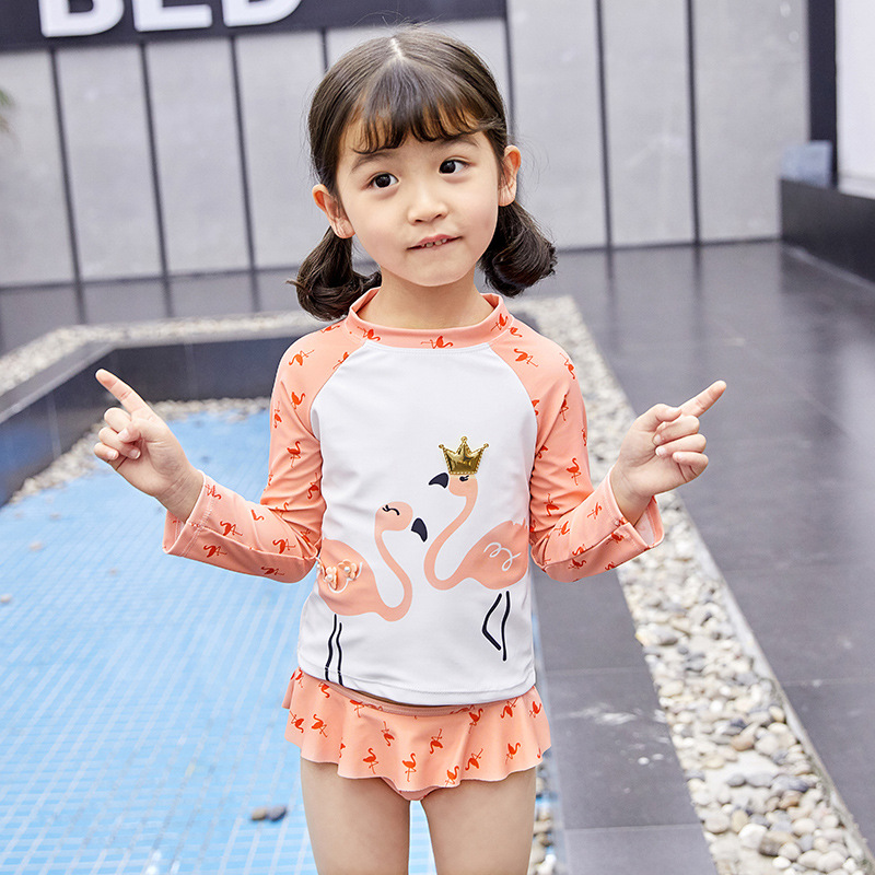 2019 New Style GIRL'S Swimsuit GIRL'S Baby Flamingo Queen Children Skirt Bathing Suit Tour Bathing Suit