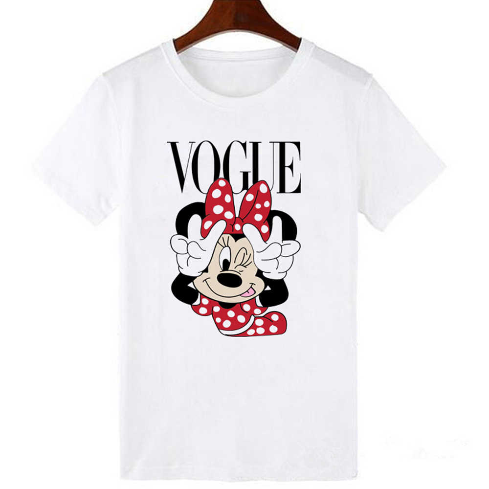 LUCKYROLL Mode Marke Cartoon Maus Drucken T Shirts Frauen Oansatz Kurzarm Sommer Tops T Trend Stil Vogue Kleidung