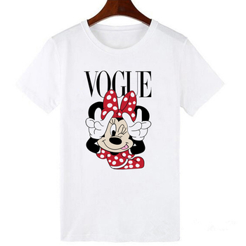 LUCKYROLL Fashion Brand Cartoon Mouse Print T Shirts Women O-Neck Short Sleeve Summer Tops Tee Trend Style Vogue Clothing