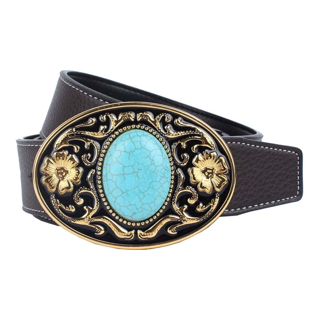 Vintage Western Cowboy Belt Arabesque Buckle Novelty Clothing Adjustable Leather Belt With Buckle