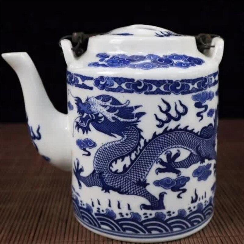 Jingdezhen Porcelain Blue And White Porcelain Double Dragon Pattern Teapot Water Pot Porcelain Teapot Home Decoration