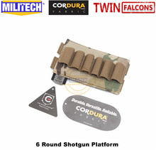 MILITECH TWINFALCONS TW 500D Delustered Cordura Molle 6 Rounds Buck Shotgun Shell Platform Ammo Pouch Elastic Band Ammo Base