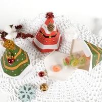 50Pcs Merry Christmas Hexagon Shape Candy Box Bag Christmas Tree Gift Box Paper Box Gift Bag Container Supplies Navidad