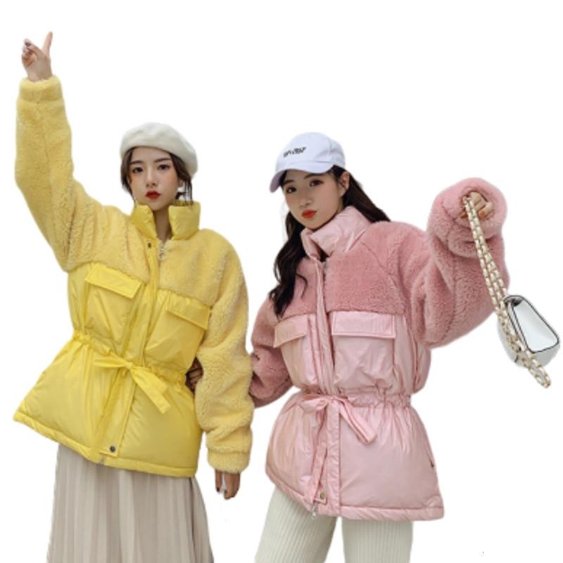 2019 зимняя женская куртка из овечьей шерсти, хлопковое пальто Veste Femme Campera Mujer Harajuku Dames Jassen, зимняя парка со стоячим воротником