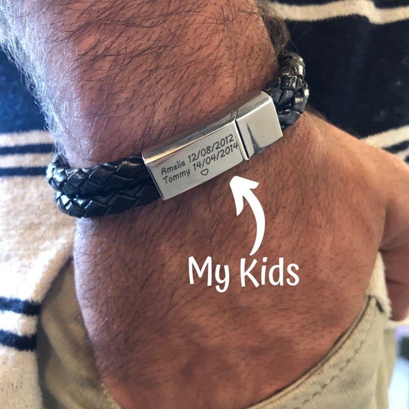 Personalized Custom ID Name Stainless Steel Bracelets Magnetic Buckle Braided Rope Genuine Leather Men Bracelet Birthday Gift