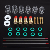 30pcs/set TIG Welding Torch Stubby Gas Lens Glass Cup Consumables Set Kits For WP 17 18/26 3/32 Inch Tool Parts