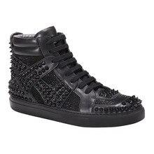 2020 New Punk Style Rivet High Top Mens Shoes Gothic Black G