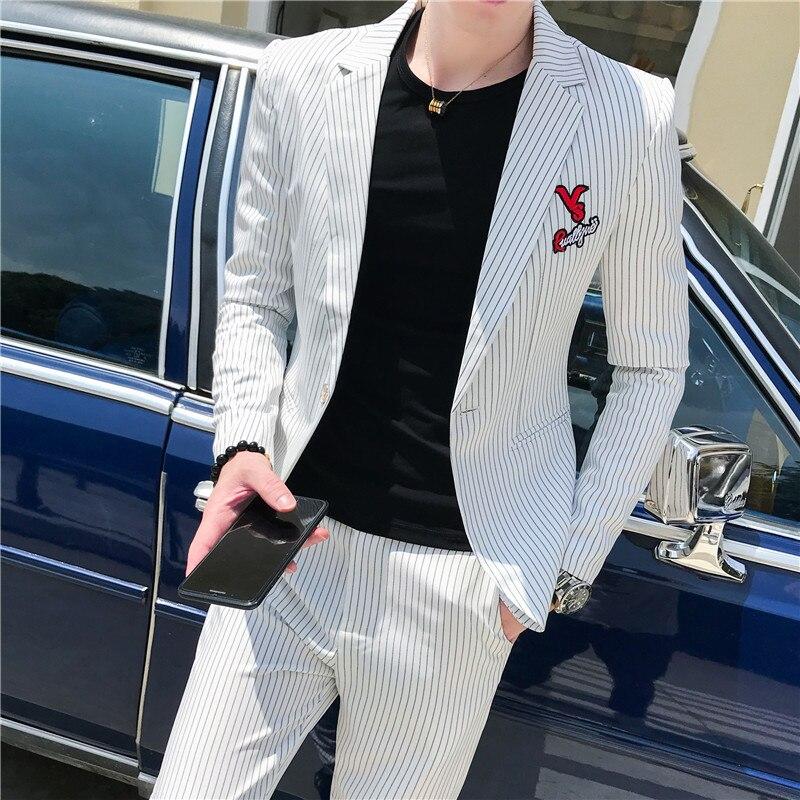 Spring Stripe Suit Men Wedding Suits For Men 2 Pcs Mens Suits With Pants Korea Slim Fit Dress Prom Tuxedo Costume Homme Terno