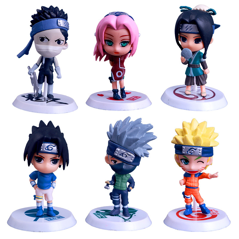 6pcs Anime Naruto Hatake Kakashi Matou Sakura Uchiha Sasuke Uzumaki Action Figure Collection Model Kids Doll Toys Car Decoration