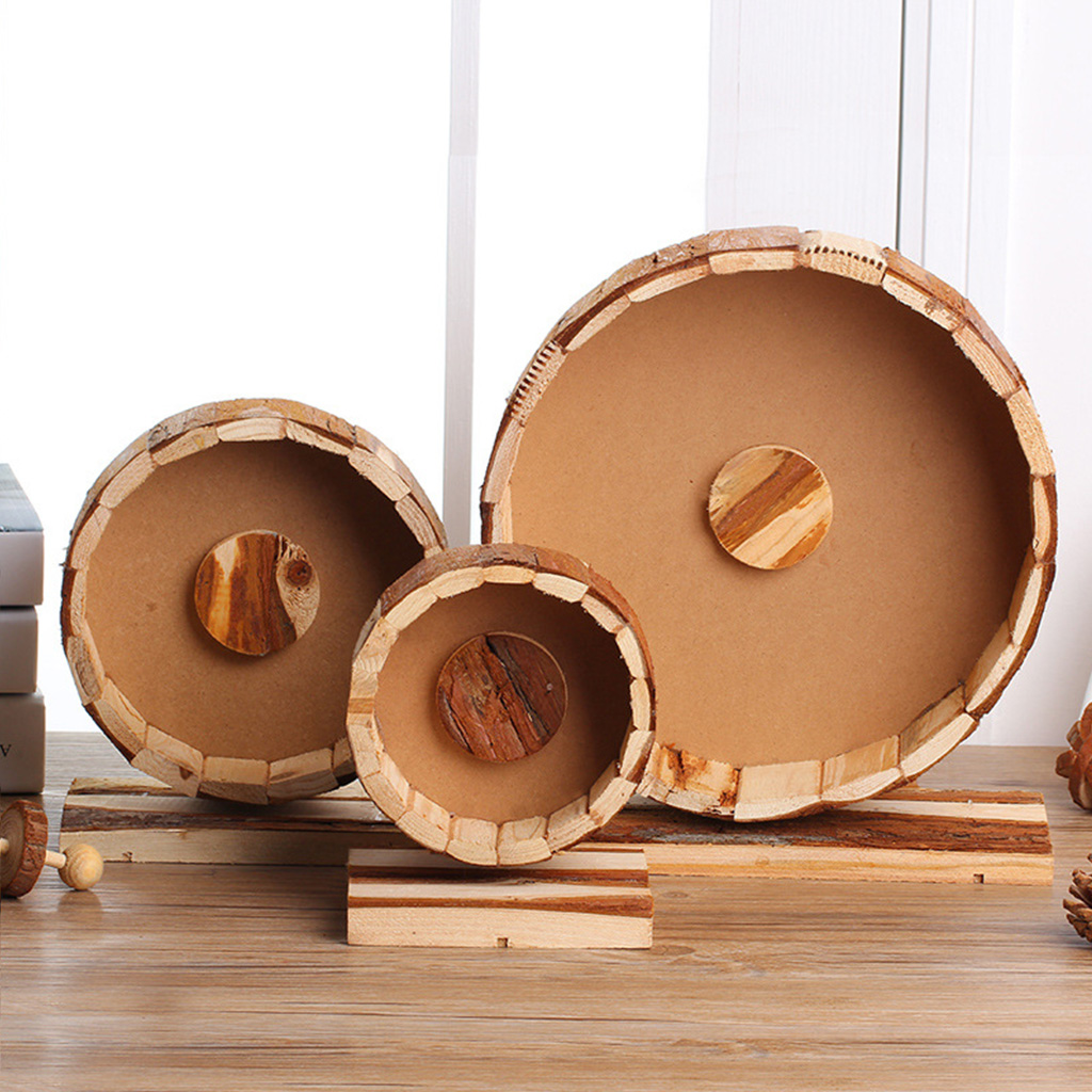 Small Pet Natural Wooden Mute Running Wheel Runner For Hedgehog Squirrel Environmental Protection Living Exercise Wheel