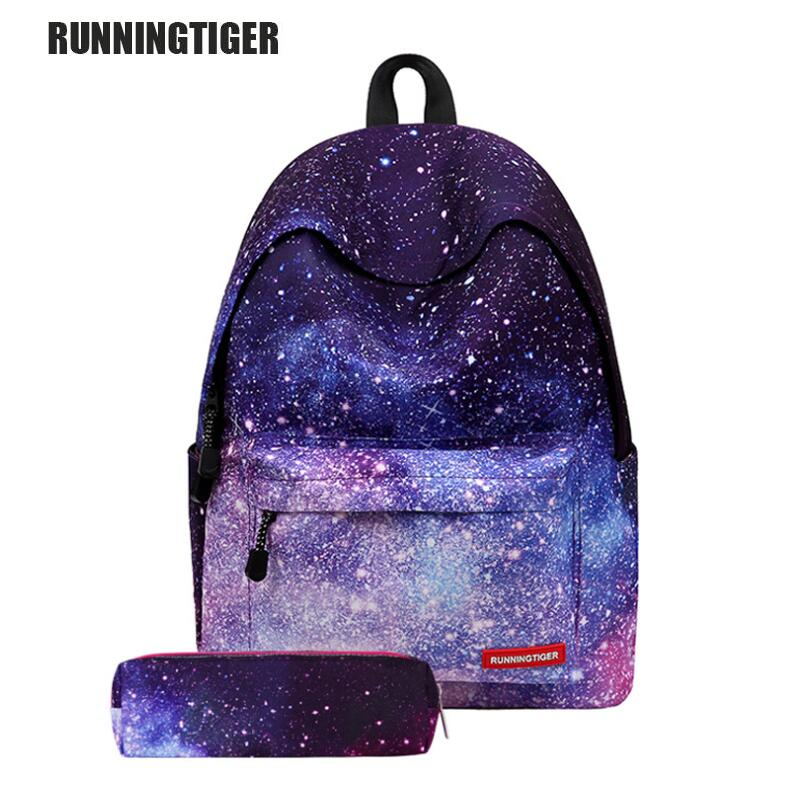 Runningtiger Women Backpack for Teenage Girl School Backpack Bag Star Universe Space Female Bag College Student Laptop Bag W111Z image