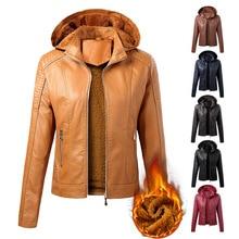 Jacket Velvet Coat Female Winter Women's Autumn Short Fashion PU Hooded Keep-Warm New-Arrival