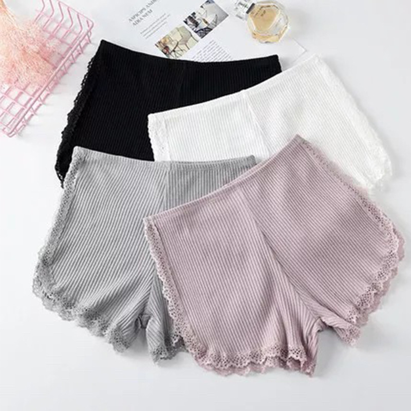 1PCs Summer Safety Pants Thread Ribbed Striped Seamless Underpants Ruffled Agaric Hem Ladies Women Boxer Shorts Solid Color