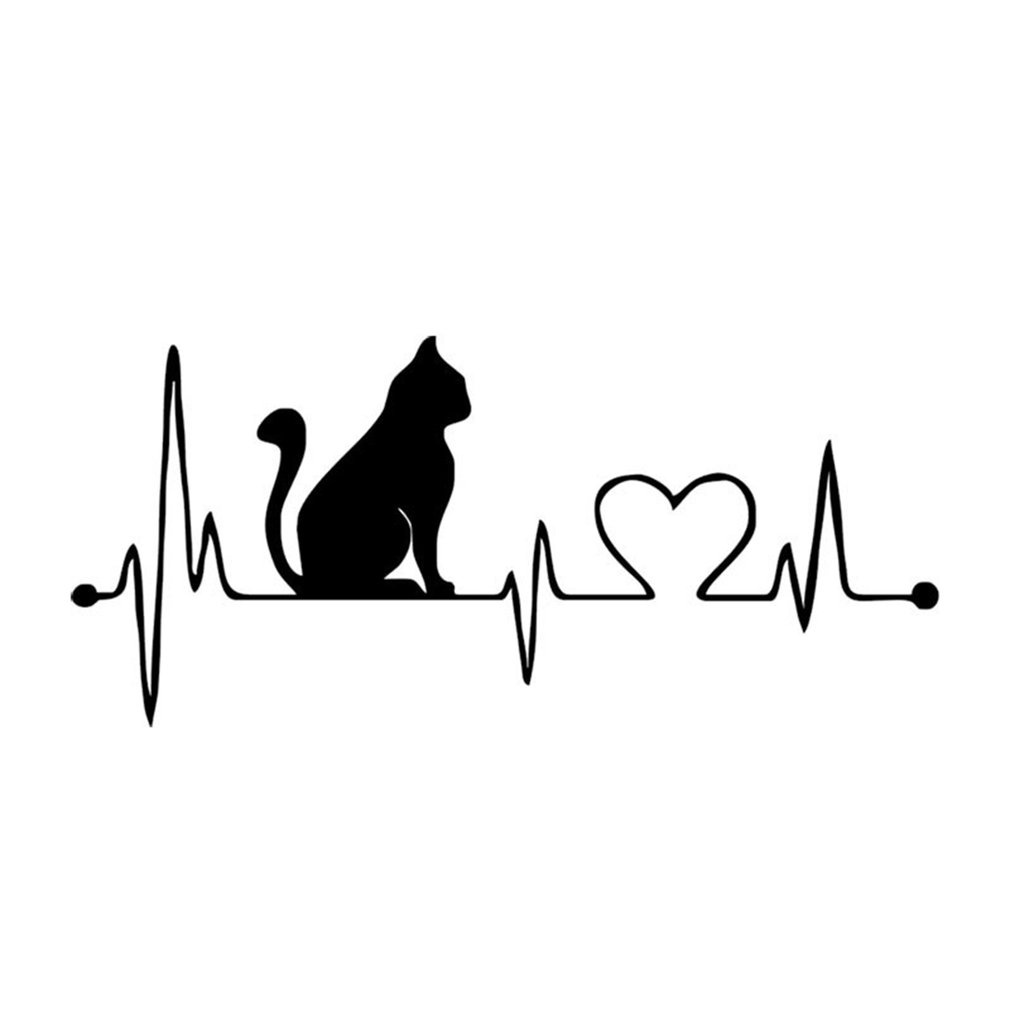Funny Cartoon Cat Heartbeat Decorative Car Sticker Waterproof Animal Auto Car Styling Decals Accessories