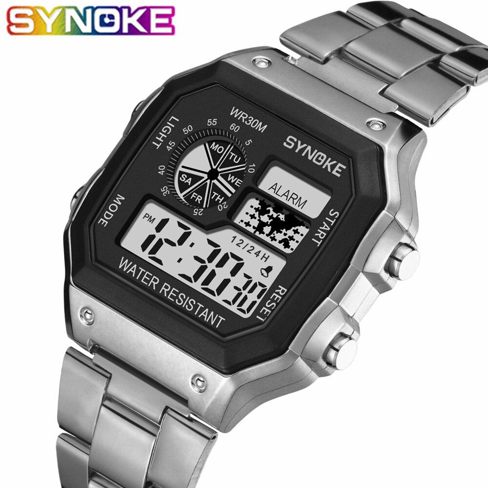 SYNOKE 2019 Men Luminous Sport Watch Multi-function Business Waterproof Male Wrist Watch Fitness Digital Watch Alarm Timer Clock