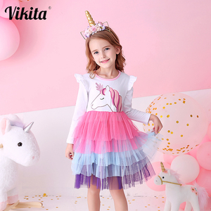 VIKITA Girls Princess Dresses Kids Cartoon Vestidos Children Autumn Dress Kids Dress for Girls Long Sleeve Unicorn Dresses