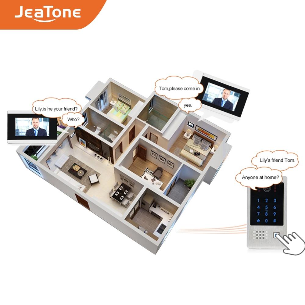 Купить с кэшбэком Jeatone 4 wires Video Door Phone Outdoor Call Panel Station with RFID Card swiper and Password Keypad Door Opener Entry Device