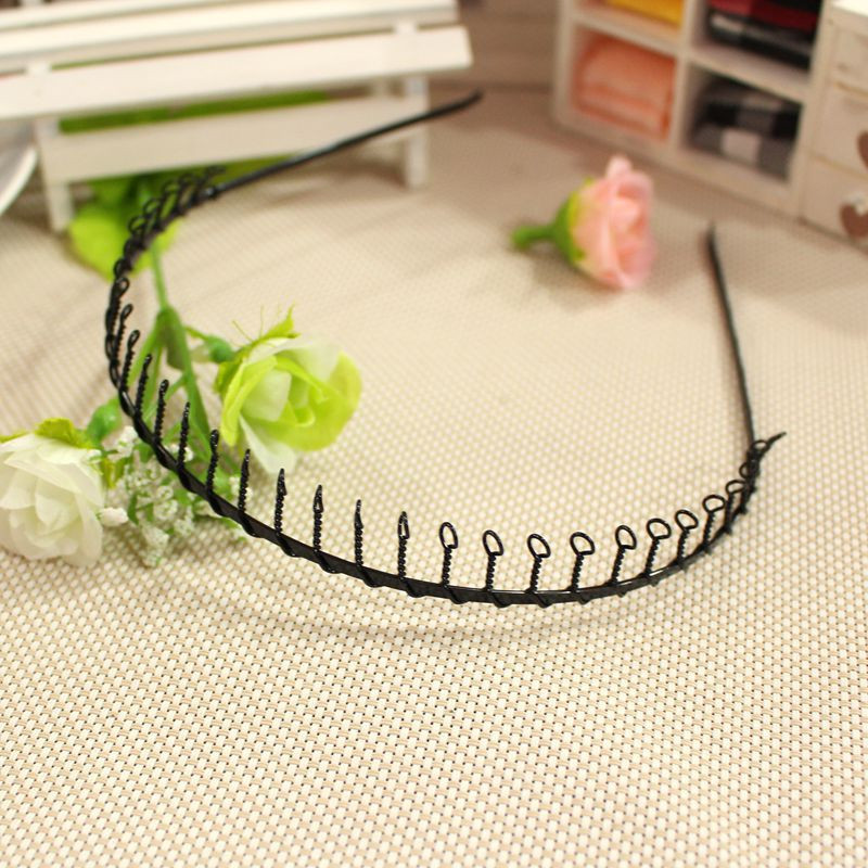 Hot Sale Men's Metal Wire Teeth Hair Band Fashion Black Soccer Sports Headband Diy Hair Styling Clips Free Shipping