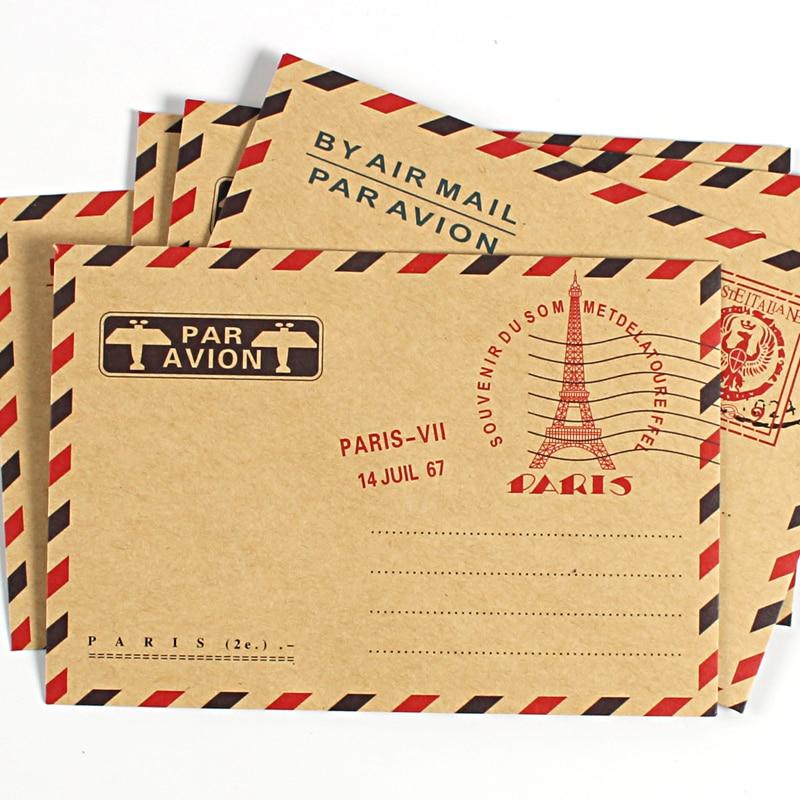 10pcs/set Vintage Kraft Paper Envelopes For Business Invitations Postcard Letter Wallet Envelope For Gift  Air Mail Stationery
