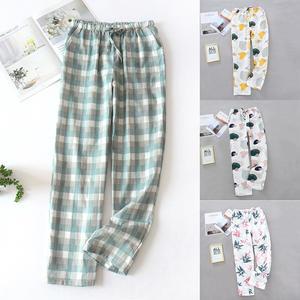 Loose Pants Pajamas Color-Trousers Sleep-Bottoms Plus-Size Cotton Summer Women's Home