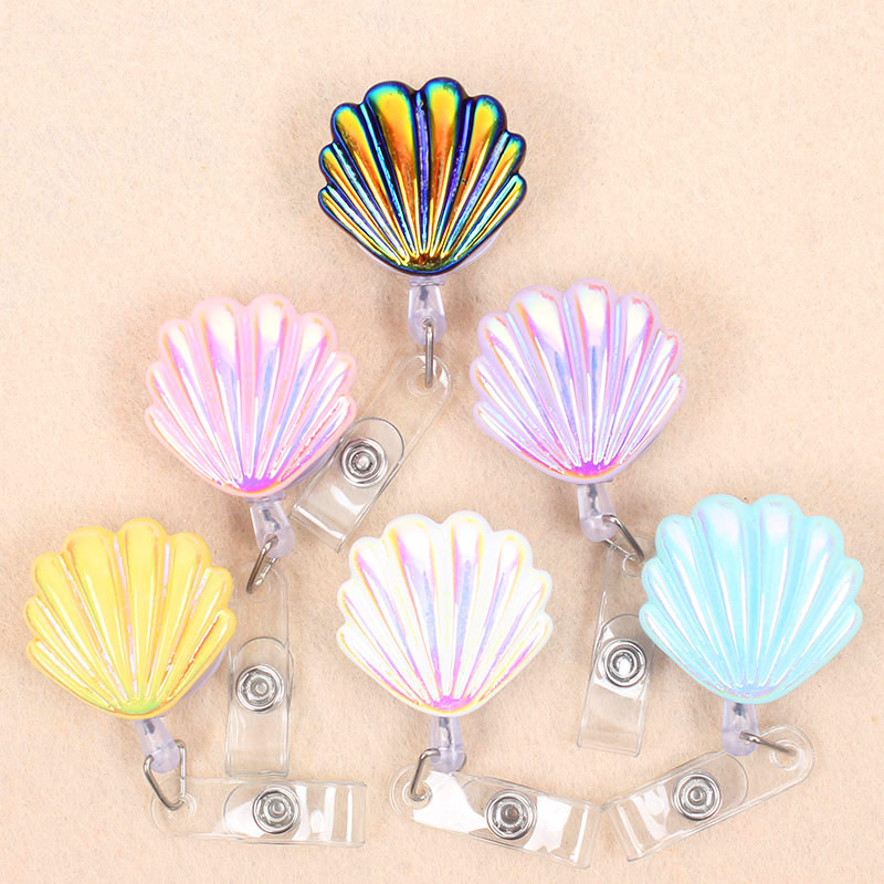 Laser Shiny Shell Retractable Creative Plastic Badge Holder Reel Student & Nurse Exhibition Enfermera Girl Name Card Chest Card