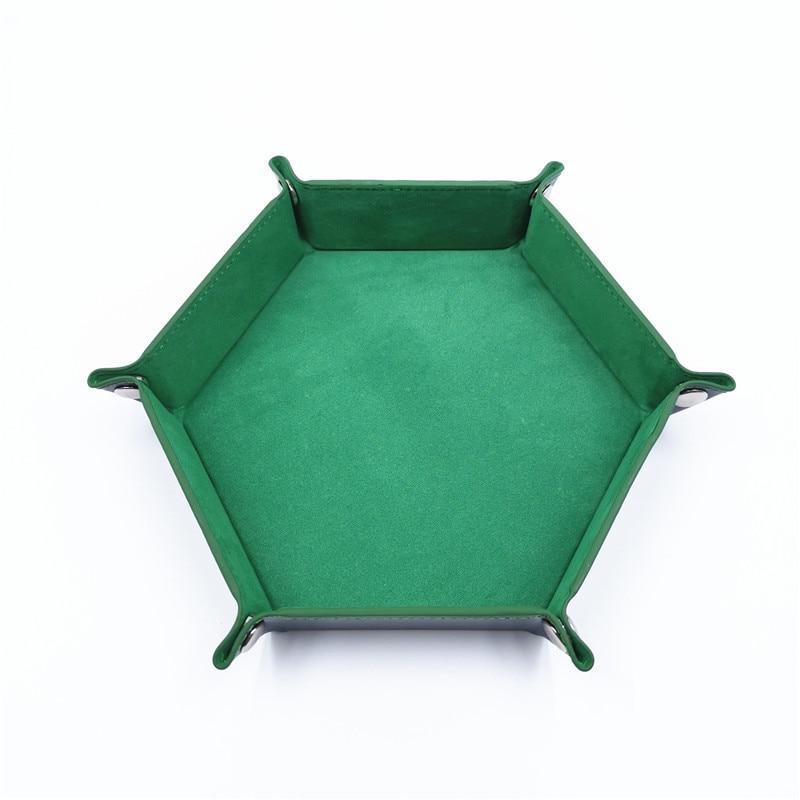 Игральные кости DND лоток dados de rol для хранения 14 цветов шестигранный бархатный тканевый Пинцет дисковый складной ящик для хранения pu лоток Настольный ящик для хранения - Цвет: Зеленый