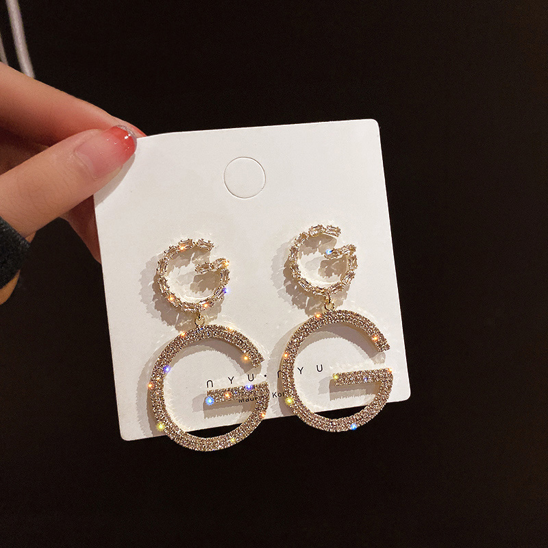 Luxury Brand Long Chain Letter G Hanging Earrings For Women Crystal Big Dangle Earring Wedding Jewelry Statement pendientes 2020