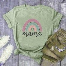 Rainbow MAMA Letter Print T Shirt Women Short Sleeve O Neck Loose Tshirt 2020 Su