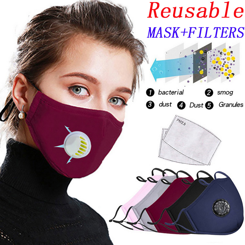 Reusable Mask PM2.5 Anti-dust Cotton Mouth Mask Anti Fog Haze Formaldehyde Bacteria Protective Masks Respirator Valve Washable
