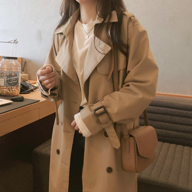 Trench-Coat Windbreaker Oversized Office Long-Sleeve Female Women Khaki Elegant Casual