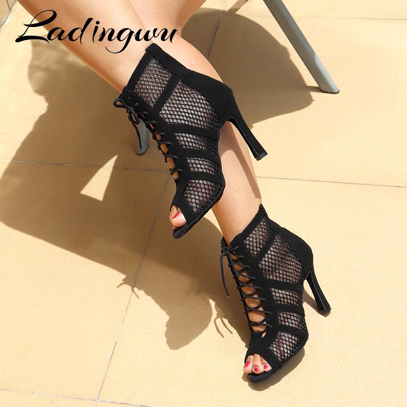 Ladingwu New Latin Dance Boots Ladies Girls Salsa Tango Dance Shoes Indoor Sports Dance Shoes Professional Ballroom Dance Shoes