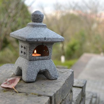 Японский стиль керамический Сад орнамент пагода сад двора скульптура фонарь рукодельные свечи держатель патио домашнее украшение Чайный д...