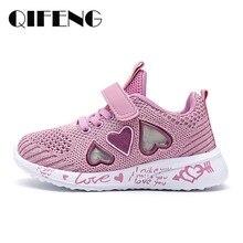 Çocuk örgü rahat ayakkabılar kız Sneakers çocuklar yaz spor ayakkabı çocuklar için ayakkabı kız ışıklı ayakkabı sevimli pembe düz ayakkabı sonbahar