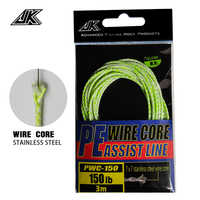 JK 90/120/150LB Luminous PE Assist Line 7*7 Stainless Steel Wire Core Rebar High Stronger 8 Strands Braided Fishing Line Green