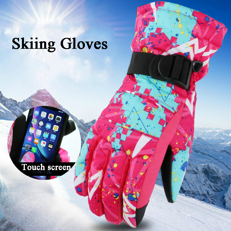 Men Women Winter Gloves Keep Warm Women Snowboard Motorcycle Gloves Skiing Winter Waterproof Skating Glove Thermal Fleece Warm