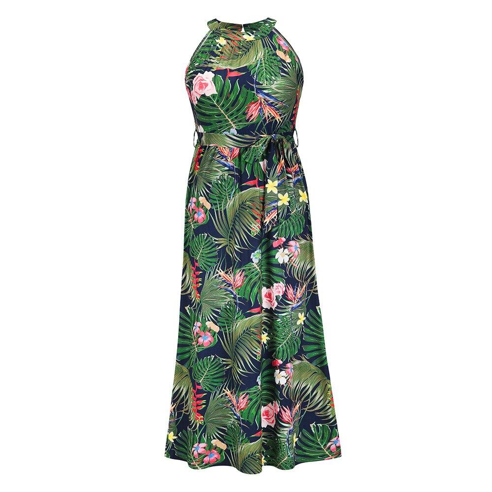 Женское богемное длинное летнее вечерние с принтом, модные элегантные праздничные пляжные платья без рукавов с лямкой на шее в стиле бохо, ж...