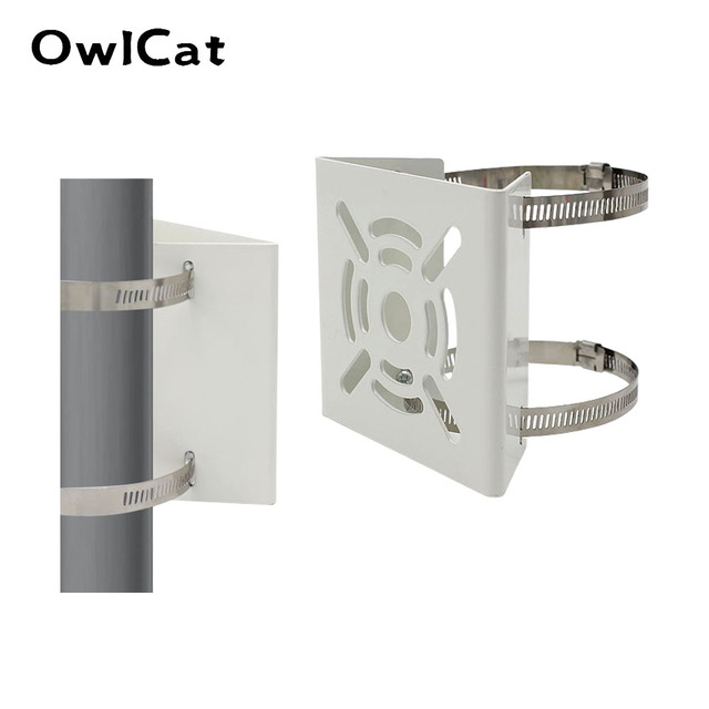 OwlCat Outside CCTV Camera Iron Hoop Bracket Video Surveillance Camera Pole Mounting Hold Column Bracket Holder Stent Metal